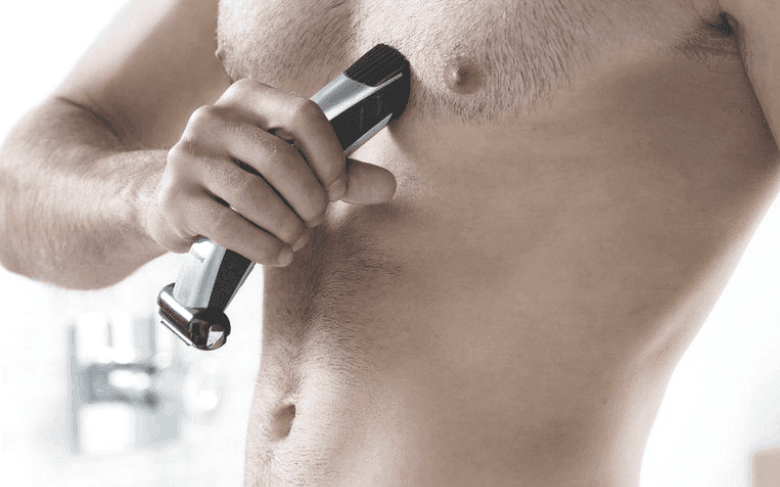 Model using Bodygroom on chest